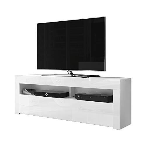 Selsey Alan-Aparador Moderno para TV (1,9 cm), con frentes de Alto Brillo Mate y Blanco Brillante