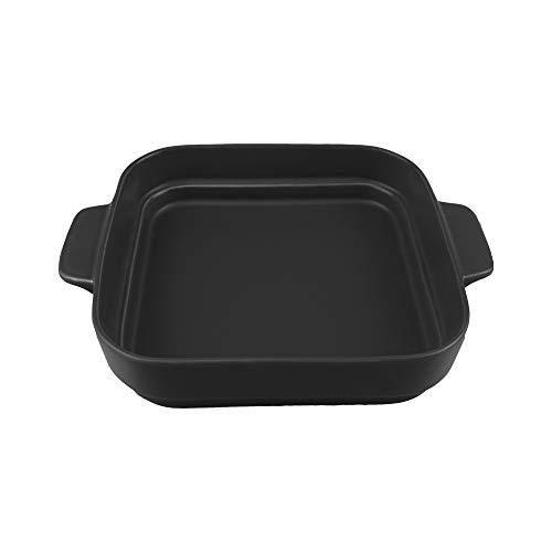 4.6 inch Kleine Keramiek Ramekins Vierkante Bakplaten met Handvat voor Oven Souffle Gerechten Bakken Bowl Individuele Bakeware (350ml)11.8 OZ voor Creme Brulee, Custard, Dipping, Rijst, Soep 8x8 inch(1300ML) Zwart
