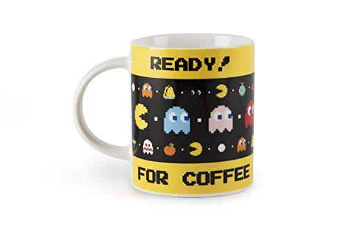 Excelsa Pac Man Mug, Porzellan, Weiß mit dekorativen Verzierungen Ready for Coffee