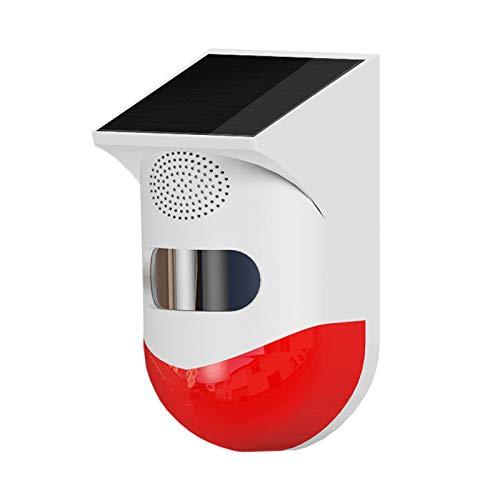 Solar Sound & Light Alarm Bewegungssensor, WiFi Wireless Sicherheitsalarm, Solar Strobe Light mit Fernbedienung Motion...