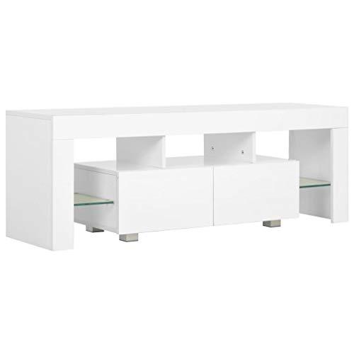 vidaXL Mueble TV Luz LED Diseño Moderno 2 Cajones + Estantes Módulo Luces Televisión Aparador Mesa Baja Televisor Mueble Salón Comedor Blanco Brillo