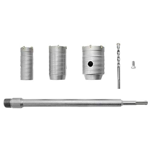 Dreneco Sierra Corona Perforadora Hormigon en Seco Ø 30,40,50mm + Adaptador SDS Plus 350mm + Broca, Perforadora Hormigon en Seco para Hormigon