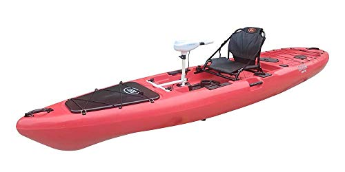 BKC PK13 Solo Sit-On-Top Fishing Kayak with Trolling Motor (Red)