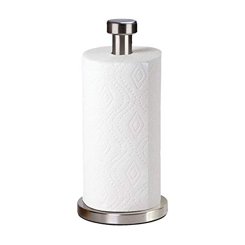 27HZYS Stainless Steel Paper Towel Holder with Base Vertical Design Paper Towel Stand Countertop for Kitchen Bedroom - 13 Inch