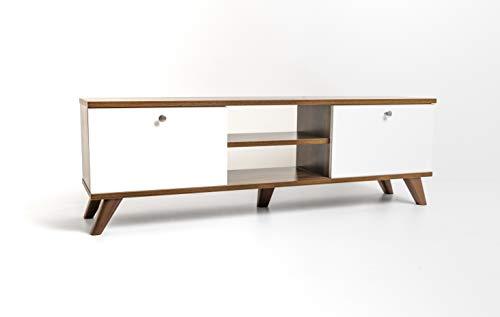 mimilos Mueble para televisión, armario para TV, nogal, mueble bajo para televisión, 30 x 131 x 43 cm, fácil de limpiar, color nogal