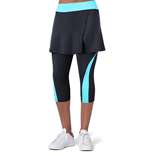 Turnhier Damen Leggings Tennis Rock mit und Taschen, Capris Yoga Leggings mit Röcken zum Golfen