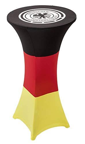 DFB Deutschland Fan Stretch-Tischhusse Ø 60/65 cm schwarz, rot, gold Stehtisch Husse Bistrotisch Bezug für jede Fussball EM/WM Party Fanartikel