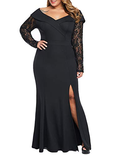 Diukia Women's Off Shoulder Lace Sleeve Plus Size Gown Dress Sexy Bodycon High Slit Maxi for Party Evening J-Black