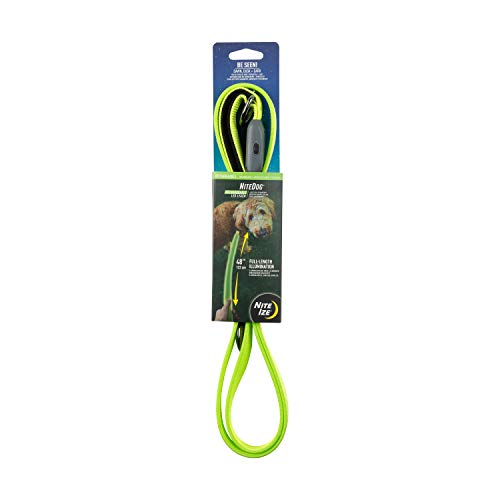 Nite Ize NiteDog Rechargeable LED Leash, USB Rechargeable 5 Foot Light Up Dog Leash w/Padded Handle, Lime