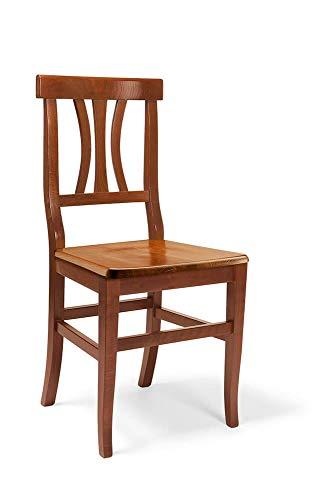 Sedia In Legno Doghe Curve Tinta Noce Per Interno Sala Da Pranzo Salotto Cucina Massello Arte Povera