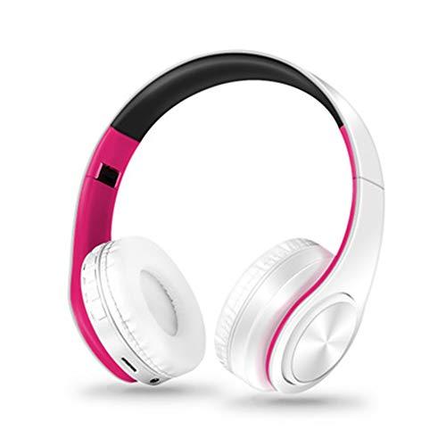TNXB Draadloze Ruisonderdrukkende Over-Ear Hoofdtelefoon - Bluetooth Hoofdtelefoon Compatibel met iPhone Android - Ingebouwde Microfoon, Lange levensduur van de batterij - Regenwaterbestendig, size, Kleur: wit