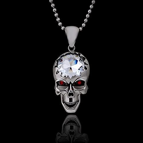 Herren Halskette Anhänger Schmuck Anhänger Halskette Silber Schädel Gothic Polished Big Schädel Anhänger Kiefer Augen Sind Rot Glas-Silber