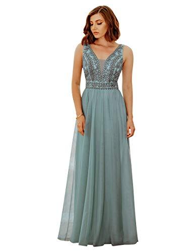 Ever-Pretty Damen Abendkleid A-Linie V-Ausschnitt tüll Hohe Taille Ärmellos Dunkles Himmelblau 40