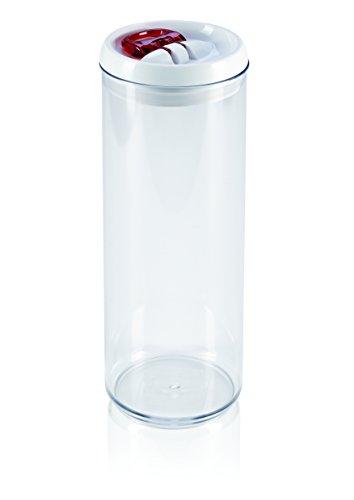 Leifheit Fresh and Easy Vorratsbehälter 1, 7 L, rund, luft- und wasserdichte Vorratsdose mit patentierter Einhand-Bedienung, Frischhaltedose, stapelbare Aufbewahrungsboxen, transparent, rot