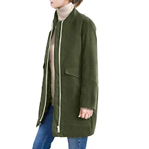 SHOBDW Damen Herbst Winter Jacke Lässige Outwear Parka Cardigan Schlank Mantel Frauen Elegant Simplicity Einfarbig Langarm Künstliche Wollmantel Trenchcoat Windjacke Outwear mit Reißverschluss
