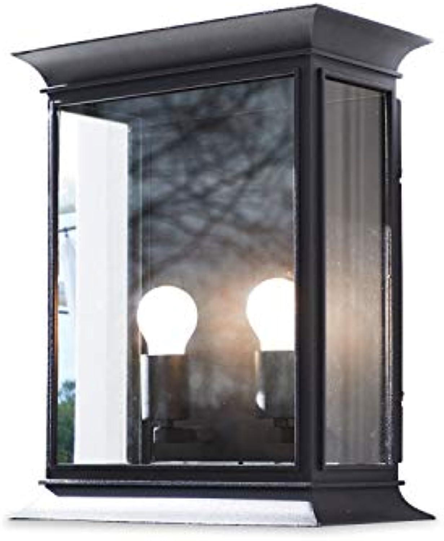 Loberon Auenwandlampe Bouix, Eisen, Glas, Kunststoff, H B T 42,5 35   18 cm, schwarz, E27, max. 60 Watt, A++ bis E