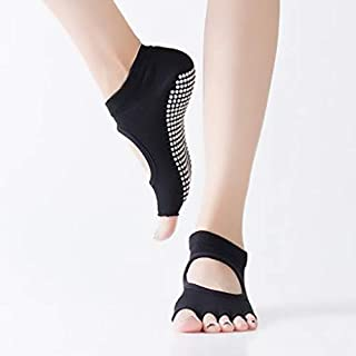 Half Five Fingers Cotton Half Toe Yoga Sock Non-Slip Peep