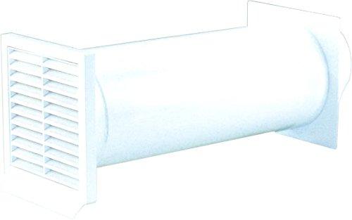 Mauerkasten rund Einbaudurchmesser 130mm. Geeignet für Wandstärken bis 450mm. Innenliegende, schaumstoffgefederte Rückstauklappe-weiss-125 er SYSTEM