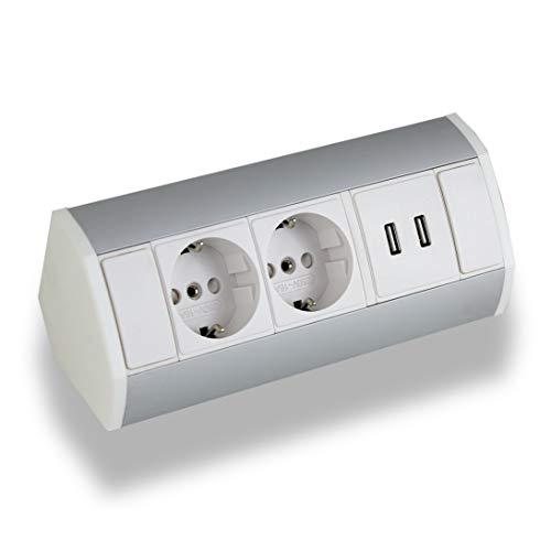 Praktische Eck-Steckdose 2x Schuko + 2x USB, weiß, silber, Aluminium, für Küche, Bad, Wohnzimmer, Möbel. USB-Steckdose ideal für Küchen-Arbeitsplatte als Aufbau-Unterbau-Steckdose (2x Schuko, 2x USB)