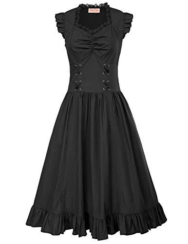 Vestido Vintage Victoriano con Volantes Sin Mangas Halloween Disfraz para Mujeres 364 M