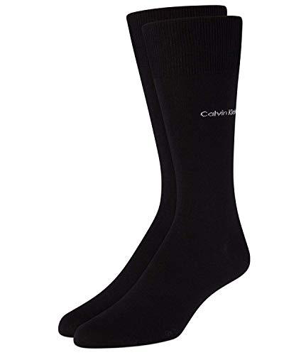 Calvin Klein Men's Giza Egyptian Cotton Flat Knit Crew Dress Socks, Black, Shoe Size 7-12