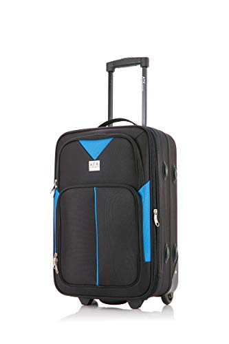 ATX Luggage Ryanair, EasyJet, BA, Jet 2, Super Lightweight Expandable Cabin Approved Trolley 2 Wheeled Bag, FITS Within 55x40x20 and 56x45x25cm Built-in Lock (21' Carry-on, Black/Blue)