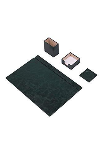 Calme-D - Juego de 4 protectores de escritorio de 49 cm x 34 cm, de piel sintética, en 10 colores a elegir, color: verde