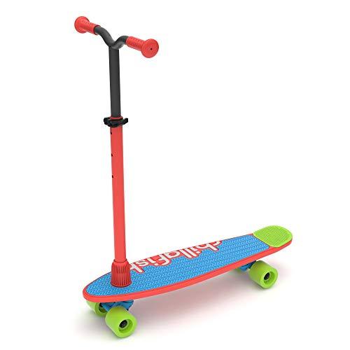 Chillafish Skatieskootie Einsteiger Skateboard und Tretroller mit abnehmbarem Lenker in einem, mehrere Deck & Heck Farboptionen, Kinder Alter 3 +, Rot