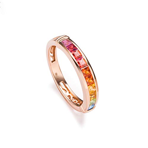 Rubyia Sapphire Eternity Ring 18 carat Gold 1.015ct Rainbow Sapphire Square with Colorful Diamond Size L½