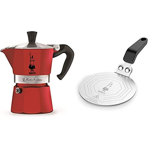 Bialetti Moka Express Red Cafetera Italiana Espresso, 3 Tazas + DCDESIGN08 Difusores de calor, adaptador para el utilizo de cafeteras y baterías de cocina sobre placas de inducción, Metal