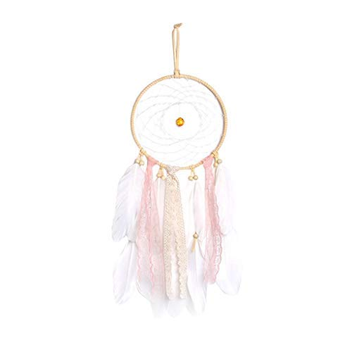 Feather Hanging Decor Manual LED Dream Catcher 20 LED Lights up Native Indian Luminous Dreamcatchers Wall Hanging Ornaments for Bedroom Home Decoration Festival Gifts Photo Props (White)