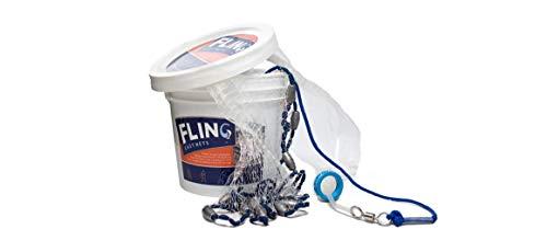FLING Fishing Cast Net, Catch Bait Fish, Saltwater & Freshwater, Strong Nylon Mesh, Heavy Duty Lead Weights, Throw Net, Monofilament, 1/2 Mesh