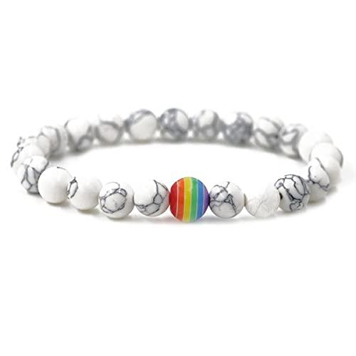 Pulsera de perlas blancas mármol arcoíris