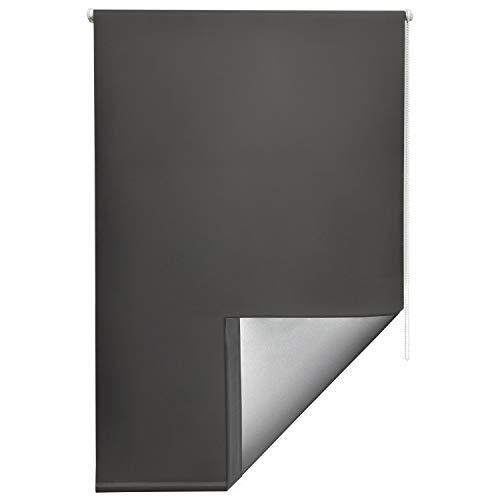 Sol Royal Thermorollo SolReflect T42 Verdunkelungsrollo 60x160 Klemmfix Rollos für Fenster ohne Bohren Silberbeschichtung Anthrazit