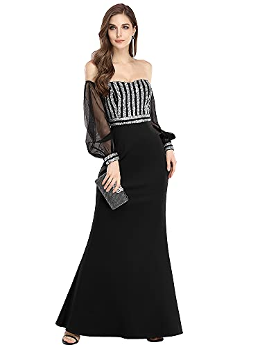 Ever-Pretty Abiti da Cerimonia dalla Spalla Elegante Lungo Stile Impero Manica Lunga Donna Nero 50
