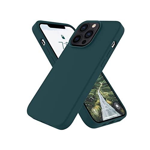 AWJK Estuche De Silicona Líquida Diseñado para iPhone 13 Pro Estuche De 6.1 Pulgadas, Estuche Delgado De Goma De Gel para Protección,Verde
