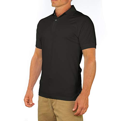 CC Perfect Slim Fit Polo Shirts for Men + Stretch | Breathable Sweat Wicking Short Sleeve Fitted Collared Mens Polo T Shirt Black