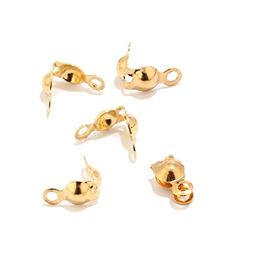 SS01 40pcs/80pcs/120pcs Golden Color 304 Stainless Steel End Crimps Bead Tips for Jewelry Making Ball Chain Clamshell Caps Fit 2.5mm/3mm YC0407 (Size : 80pcs)