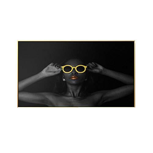 Woplmh Modern canvas zwart meisjes dames lippenstift zonnebril kunst muurafbeeldingen grote poster voor woonkamer decoratie thuis 40 x 70 cm zonder lijst