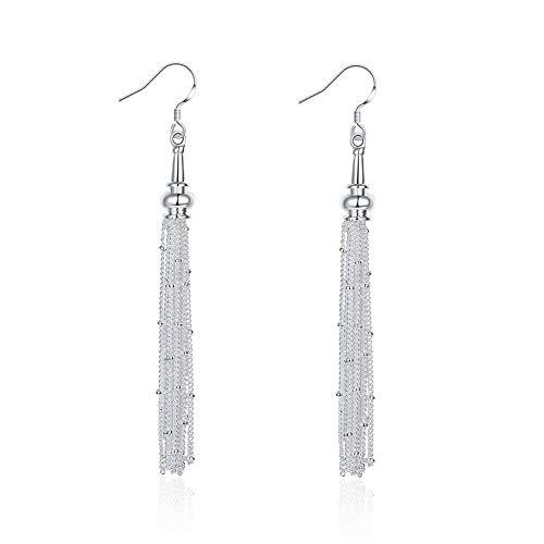 Pendientes de gota de cadena larga chapados en plata de ley para mujeres y niñas, orejas sensibles, para boda, elegante gancho de borla