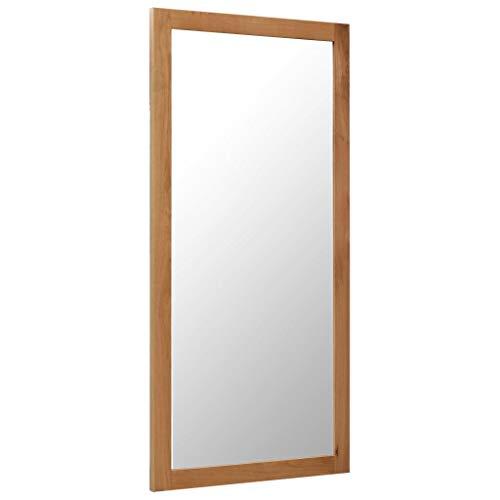 Festnight Spiegel Wandspiegel Holz Badspiegel Ankleidespiegel Garderobenspiegel 60 x 120 cm Massivholz Eiche
