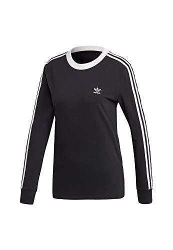 adidas Damen 3-Streifen Longsleeve, Black/White, 38