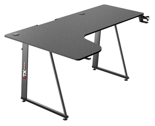 Tavolo scrivania da Gaming Desk Postazione Computer Carbonio porta Cuffie Porta bicchiere Laptop da Gioco Gestione Cavi Ergonomica Gamer