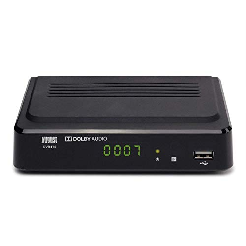 Freeview Set Top Box Recorder - August DVB415 - 1080P Freeview HD Recorder HDMI and Scart Set-Top Box Receiver Digital TV Receiver with Multimedia Player PVR for Recording