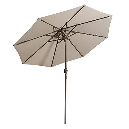 Aok Garden 9 Feet Outdoor Market Patio Umbrella with Push Button Tilt and Crank Lift Ventilation,8 Sturdy Ribs Non-Fading Sunshade,Grey