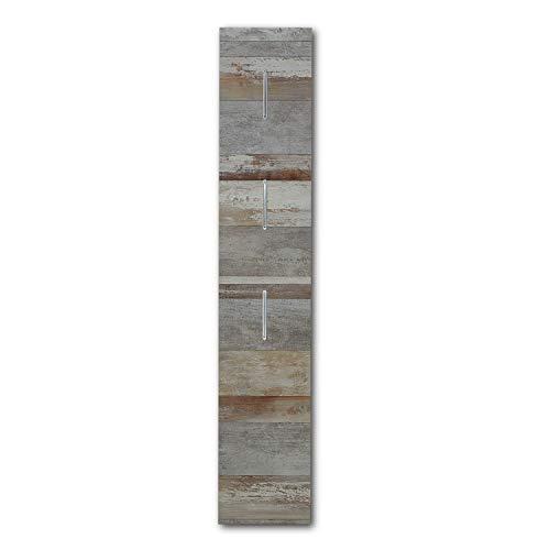 MATEO Schmale Garderobenleiste in Driftwood Optik mit drei Haken - Zuverlässige Wandhaken für Jacken & Taschen - 31 x 170 x 1 cm (B/H/T)