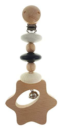 Hess Spielzeug Le jouet à suspendre en bois pour poussette, Étoile naturel/noir