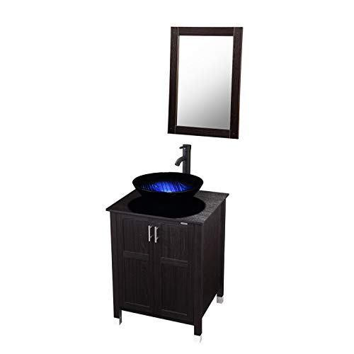 Modern Bathroom Vanity And Sink Combo Stand Cabinet with Vanity Mirror,Single MDF Cabinet with Blue Glass Vessel Sink Round Bowl