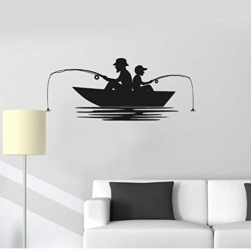 Pegatinas De Pared Vinilo Decorativo De Pared Barco Pesquero Pescador Pasatiempo Interior Vinilo Mural 57X24cm