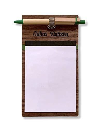 Personalisierter Magnet-Notizblockhalter für Kühlschrank mit Notizblock, Stiftehalter, Kugelschreiber. Block Din A6, 50 Blatt. Geschenk für Sie und Ihn.